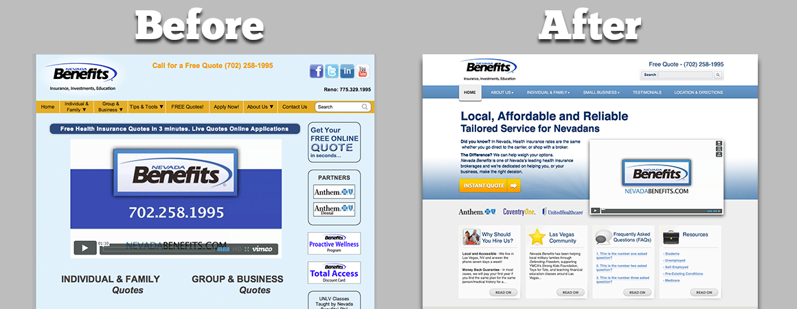 Las Vegas Web Design Before and After